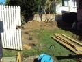Garden retaining wall under construction