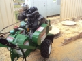 Palm Stump Grinding in a carport at Tiagum